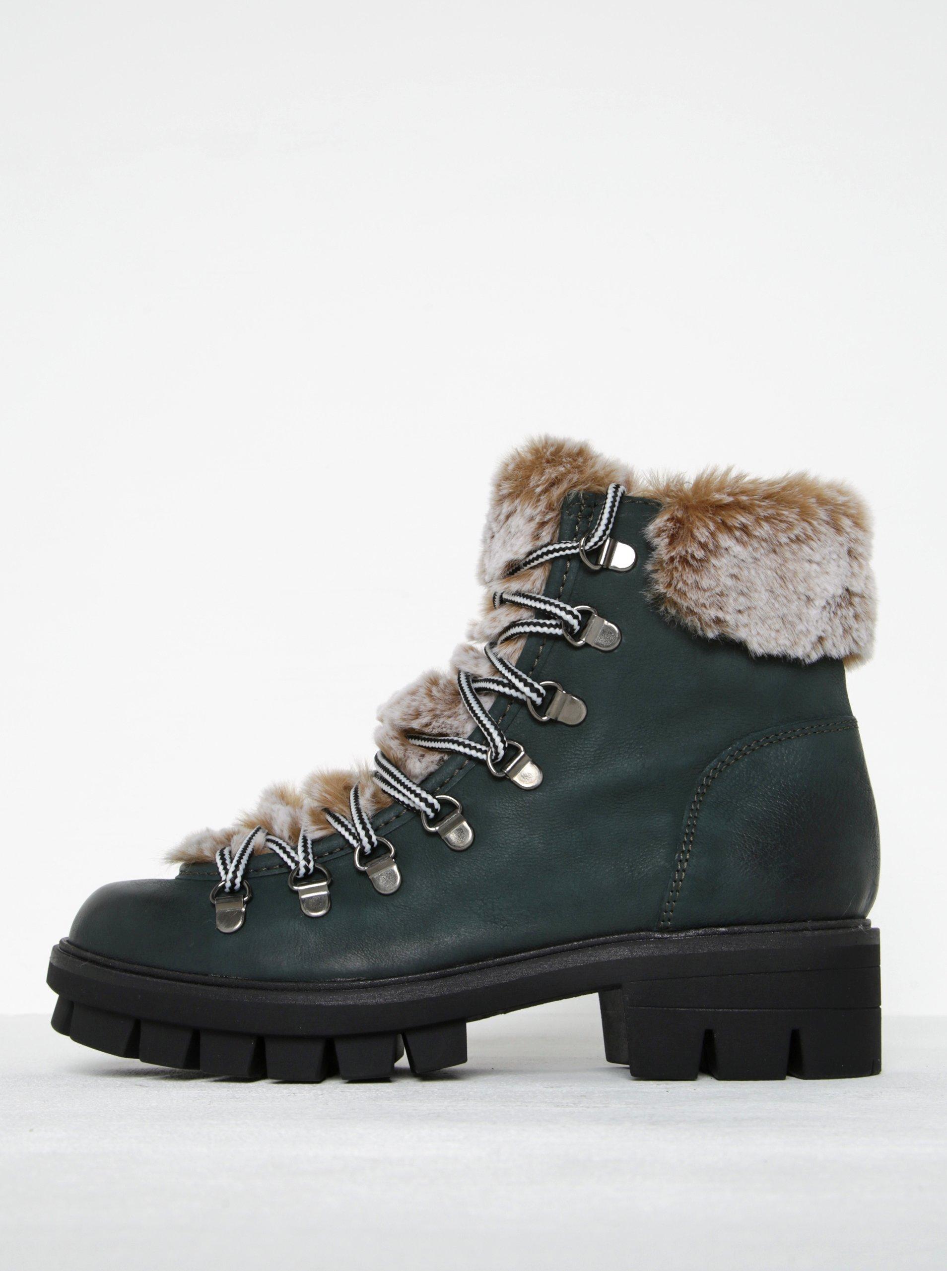 7482f6f4cdbe1 Zelené kožené členkové topánky s umelou kožušinou Tamaris | Moda.sk