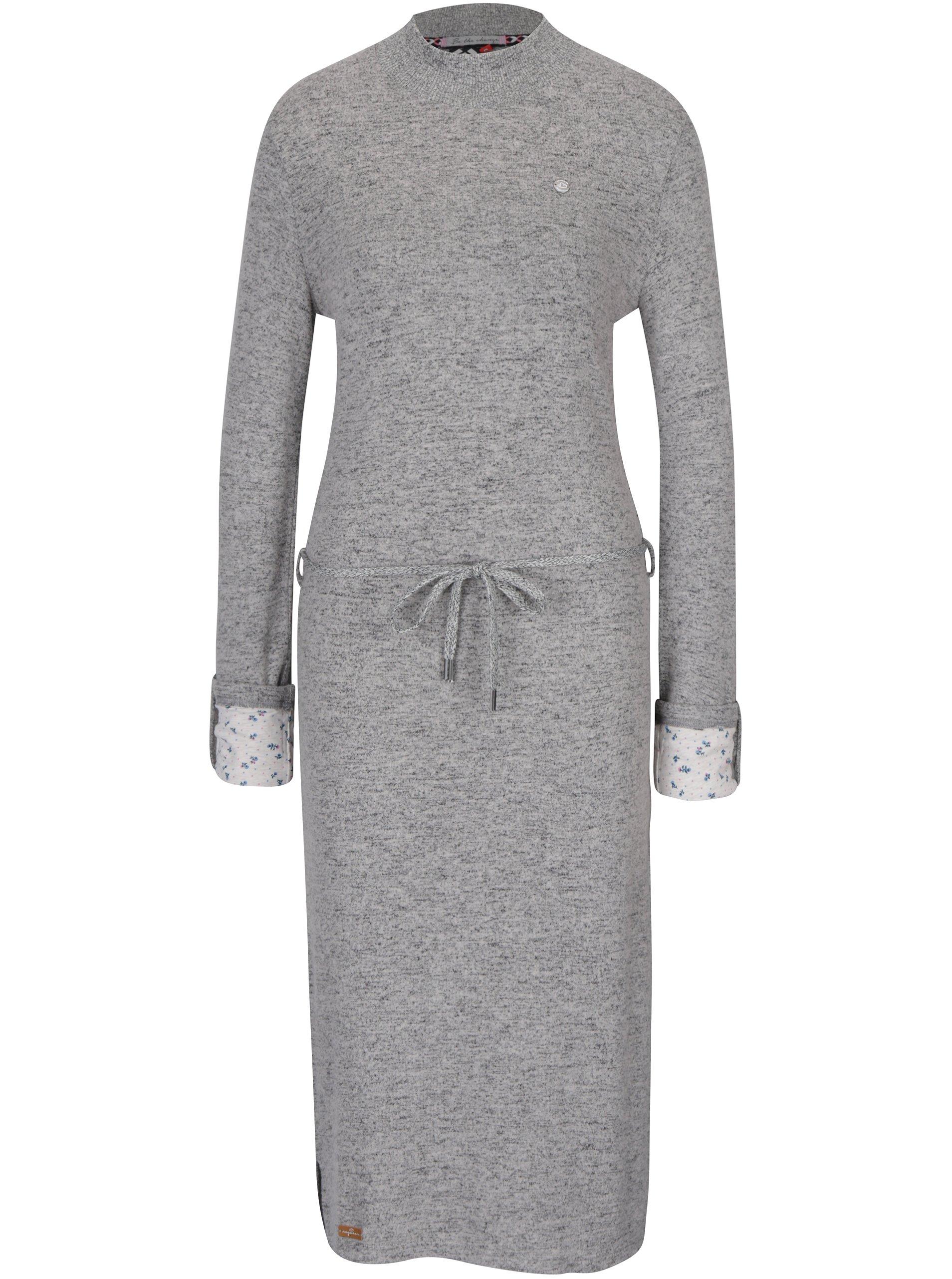 d24f1894dd6d Sivé svetrové melírované šaty s dlhým rukávom Ragwear Provence