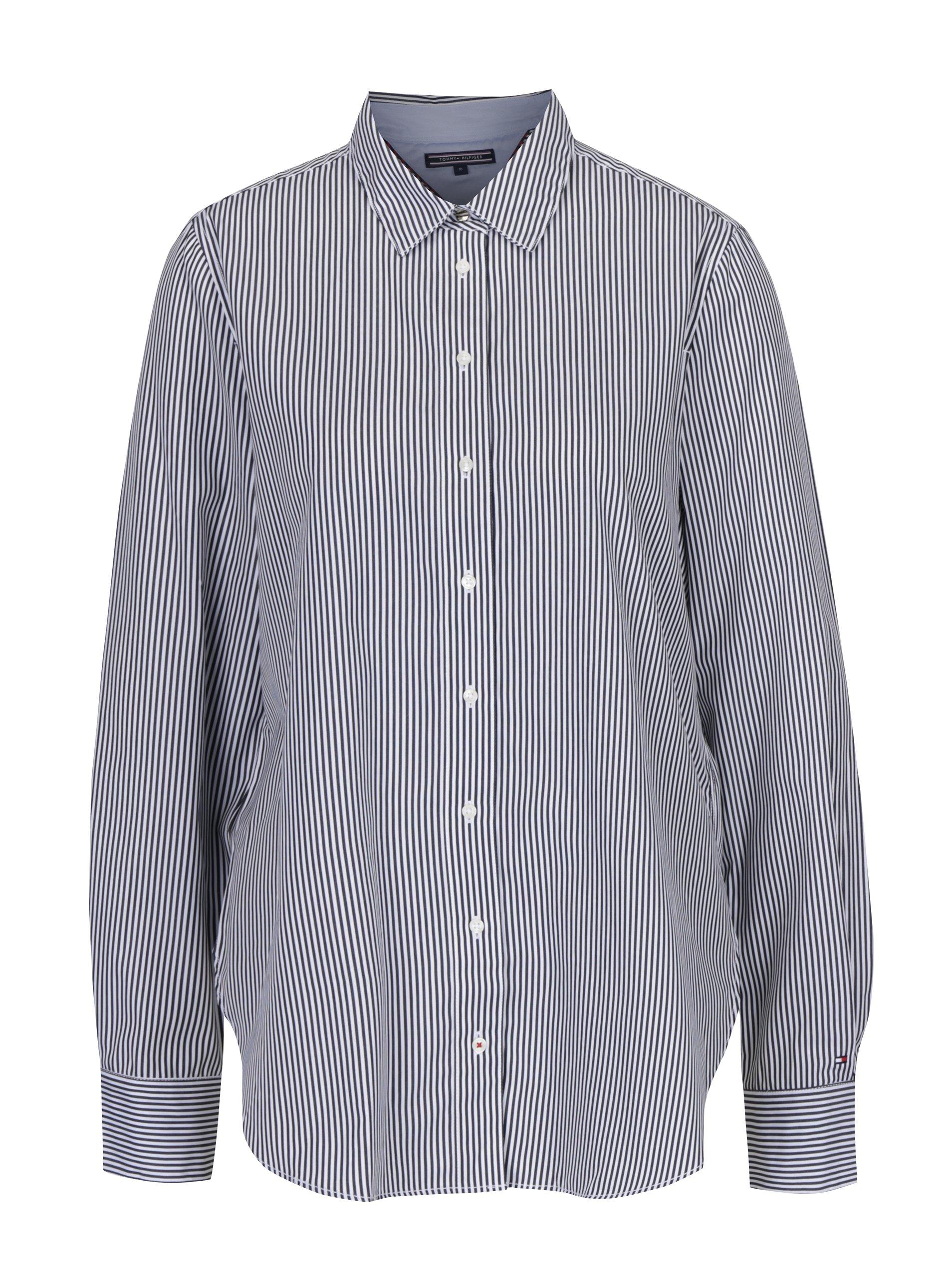 c97c8fda0406 Bielo-čierna dámska pruhovaná košeľa Tommy Hilfiger