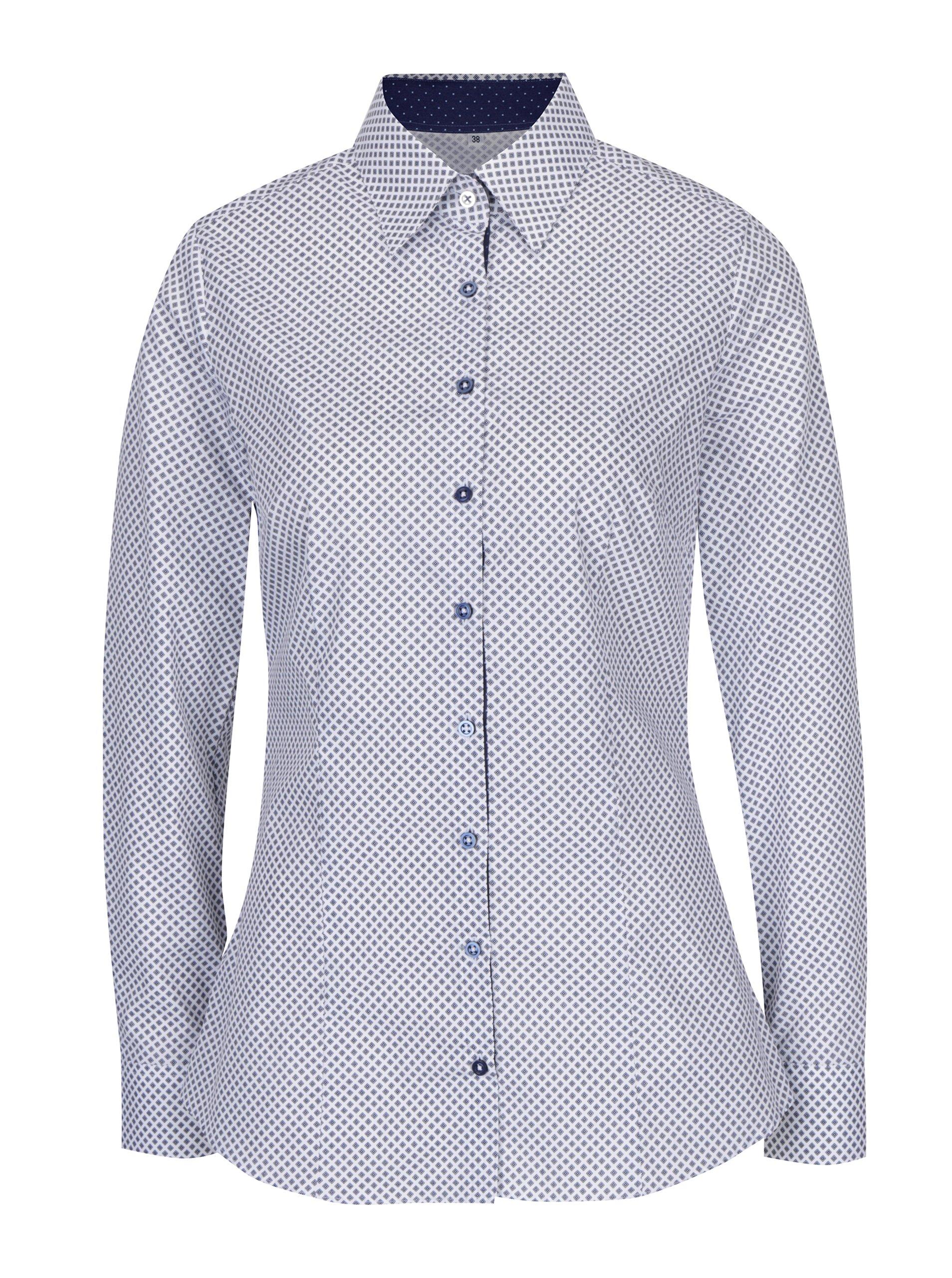 9e046f7886 Biela dámska košeľa s tmavomodrým vzorom VAVI