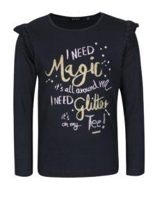 Tmavomodré dievčenské tričko s volánikmi a potlačou Blue Seven