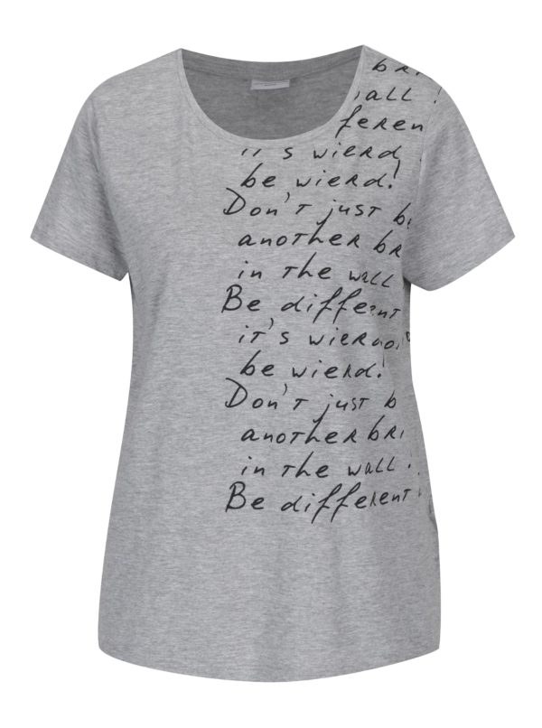 Svetlosivé tričko s potlačou Jacqueline de Yong Marble