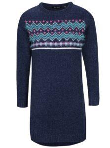 Tmavomodré dievčenské svetrové šaty so vzorom Blue Seven