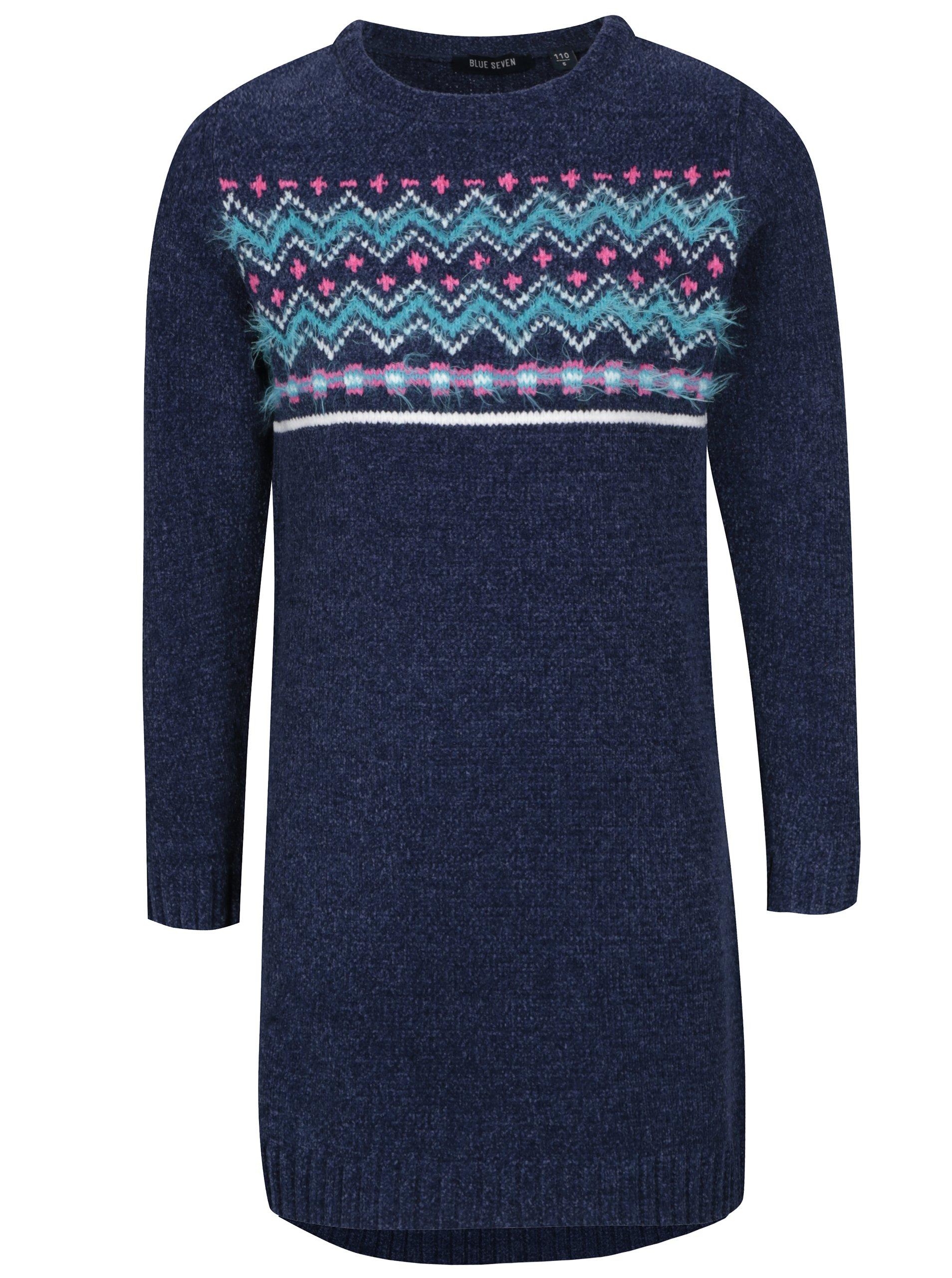 547c64ac57f6 Tmavomodré dievčenské svetrové šaty so vzorom Blue Seven