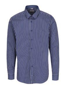 Tmavomodrá formálna pánska pruhovaná košeľa VAVI