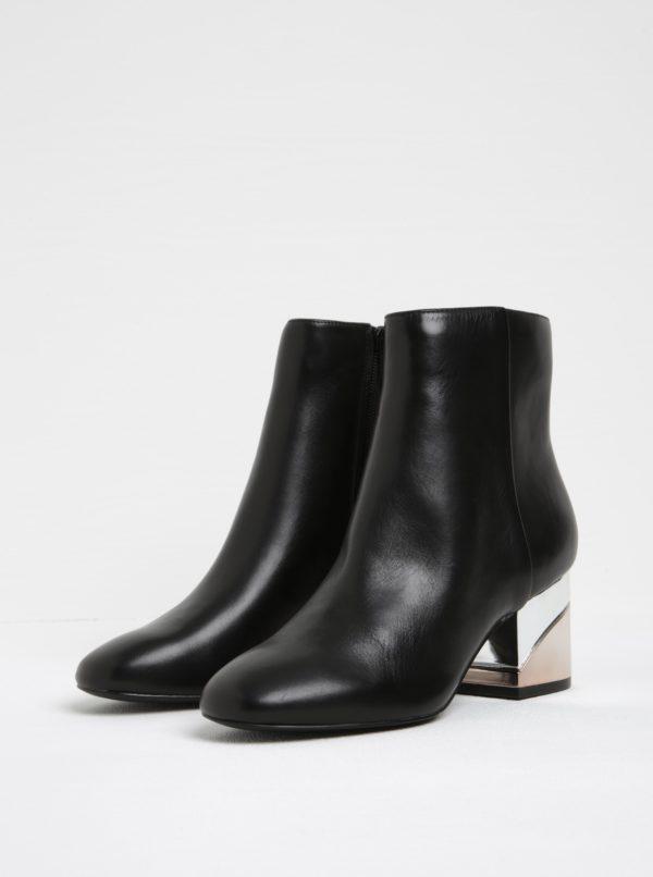 Čierne dámske kožené členkové topánky na metalickom podpätku ALDO Kaedi