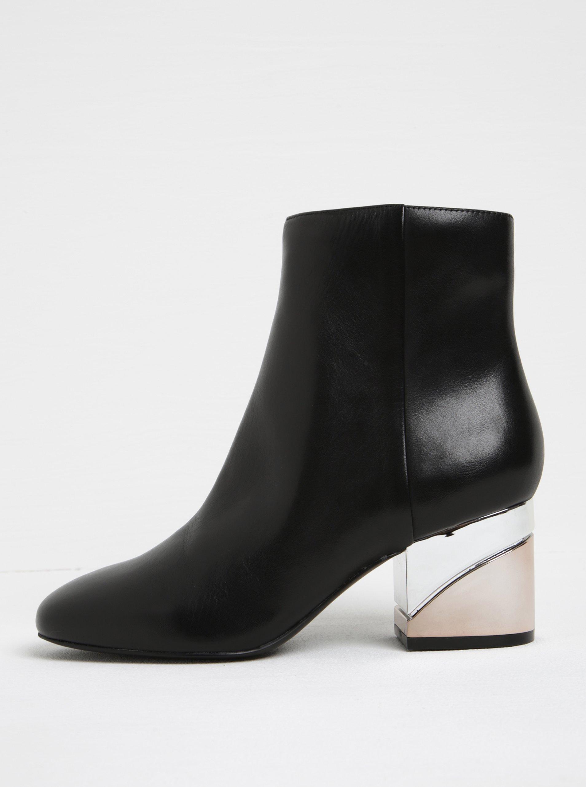 1f21992515 Čierne dámske kožené členkové topánky na metalickom podpätku ALDO Kaedi