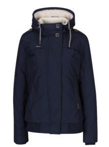 Tmavomodrá dámska bunda s umelým kožúškom a kapucňou Ragwear Ewok