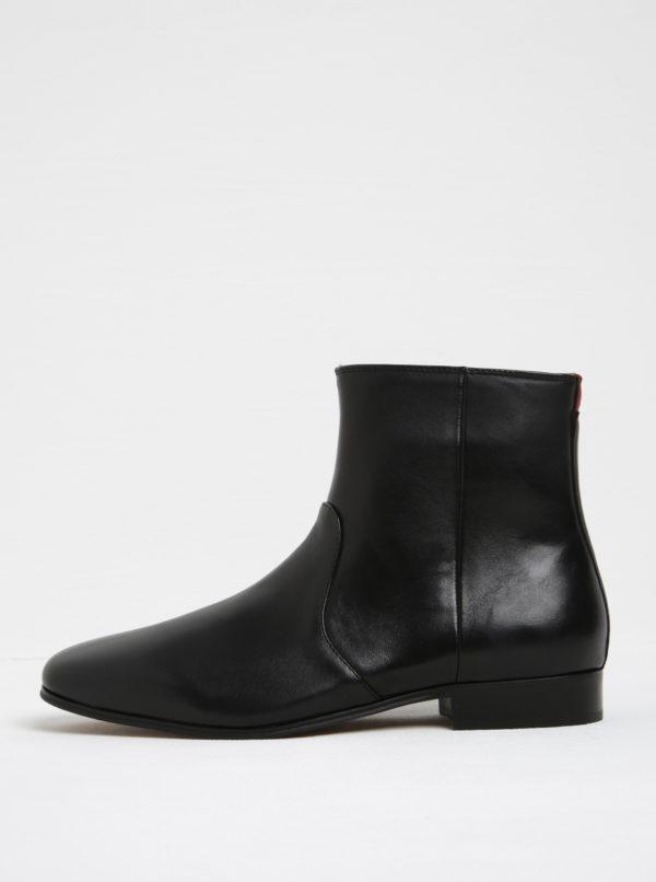 Čierne pánske kožené členkové topánky ALDO Arly