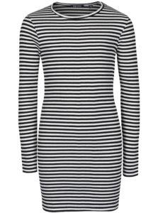 Bielo-čierne dievčenské pruhované šaty Blue Seven