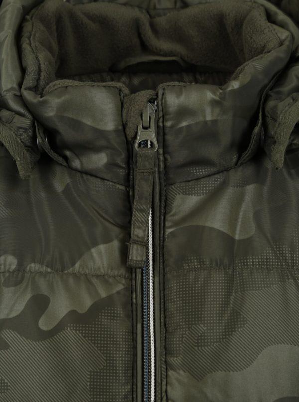 Kaki chlapčenská vzorovaná bunda s kapucňou name it Mit