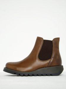 Hnedé dámske kožené chelsea topánky FLY London