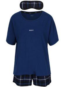Tmavomodrá darčeková súprava pyžama a masky na spanie DKNY