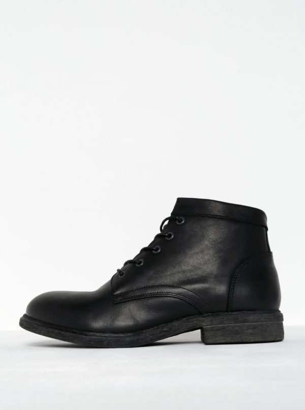 Čierne kožené členkové topánky so zipsom Selected Homme Trevor