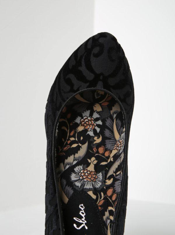 Čierne lodičky so zamatovým vzorom Ruby Shoo Leah