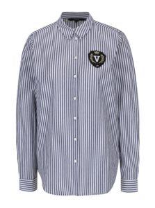 Modro-biela pruhovaná košeľa s nášivkou VERO MODA Leah