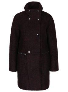 Vínový žíhaný kabát s prímesou vlny VERO MODA Emra