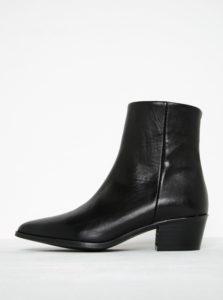 Čierne kožené členkové topánky Pieces Pedrine
