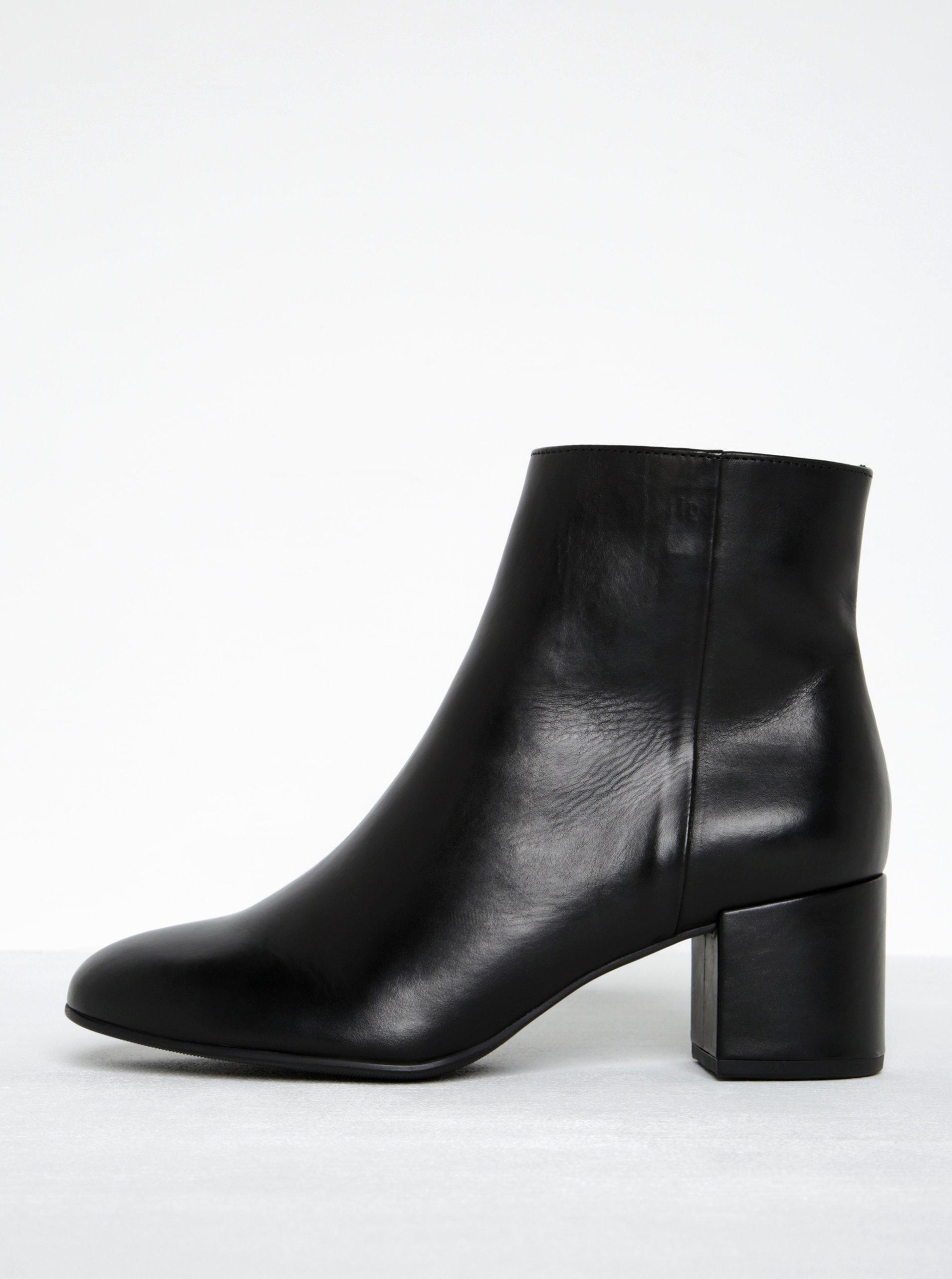 Čierne kožené členkové topánky na podpätku Högl  ec1e2a54461