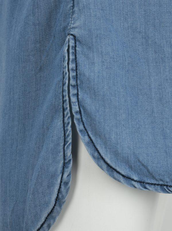 Modrá dievčenská dlhá rifľová košeľa s výšivkou small rags Freya