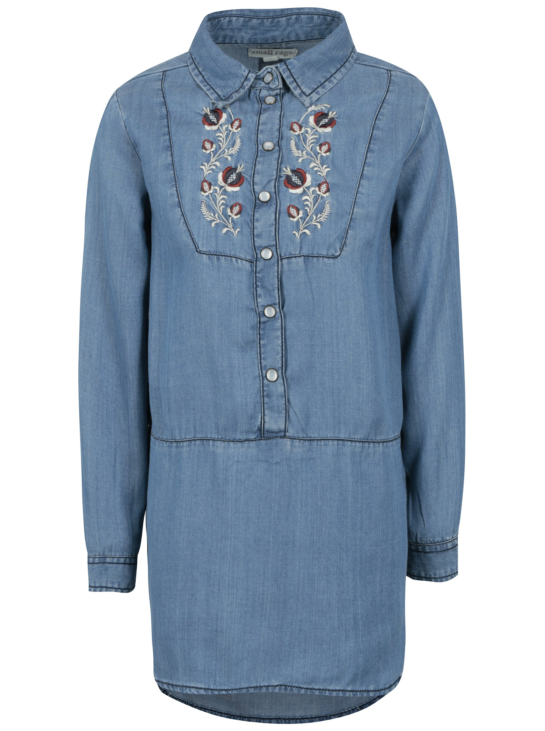 518938632fae Modrá dievčenská dlhá rifľová košeľa s výšivkou small rags Freya ...