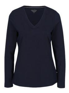 Tmavomodré dámske tričko s dlhým rukávom Nautica