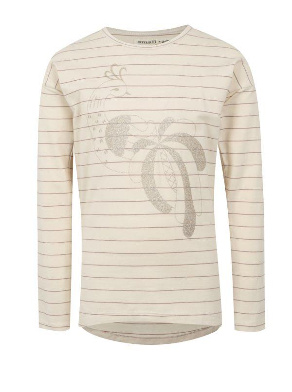 Krémové dievčenské pruhované tričko s potlačou small rags Freya