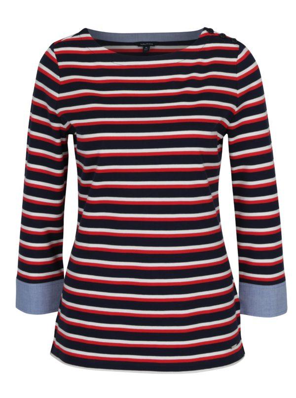 Červeno-modré pruhované tričko s 3/4 rukávom Nautica