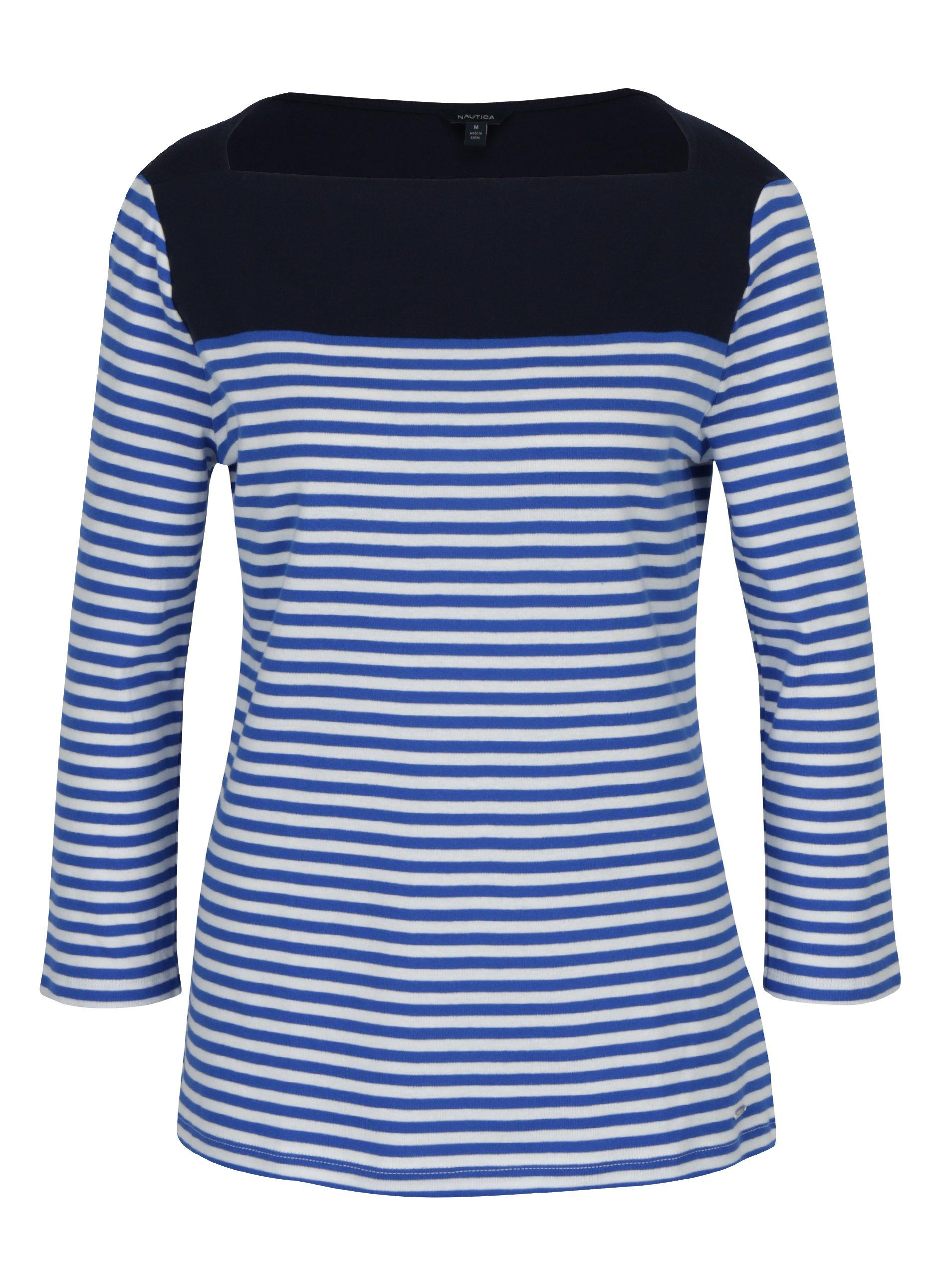 2a03c5489bda Modré pruhované tričko s lodičkovým výstrihom Nautica