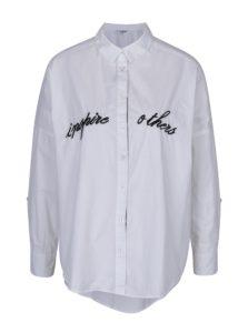Biela oversize košeľa s výšivkou TALLY WEiJL