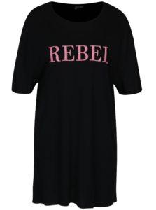 Čierne dlhé tričko s výšivkou TALLY WEiJL