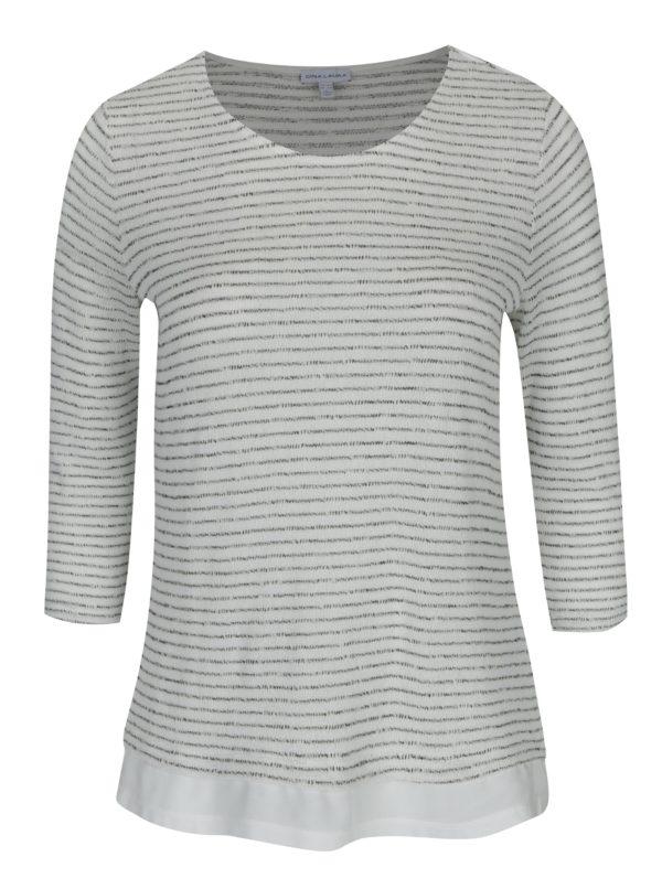 Krémový pruhovaný sveter Gina Laura