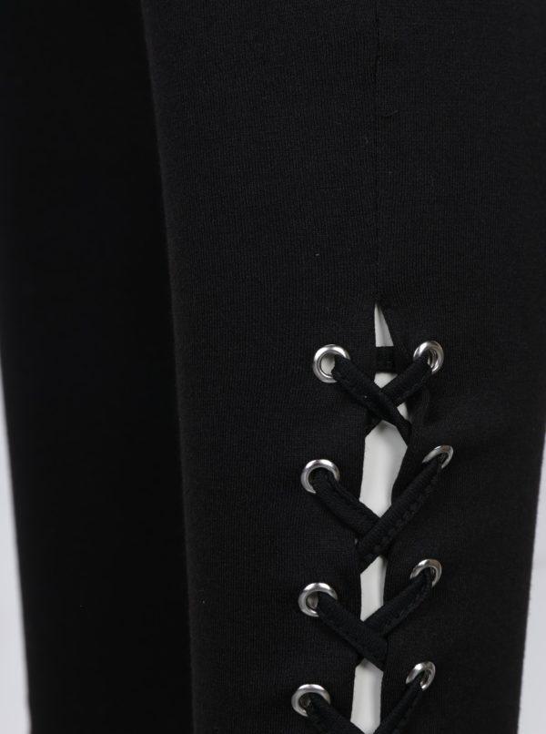 Čierne legíny so šnurovaním na nohaviciach TALLY WEiJL