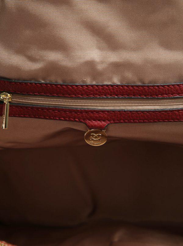Červený batoh s koženkovými detailmi Gionni Julia