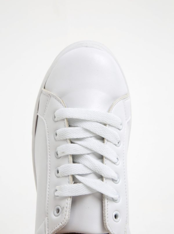 ebcd8168f656 Biele tenisky na platforme Pieces Monet
