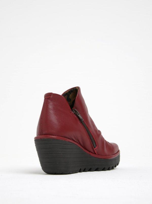 Vínové dámske kožené členkové topánky na platforme FLY London