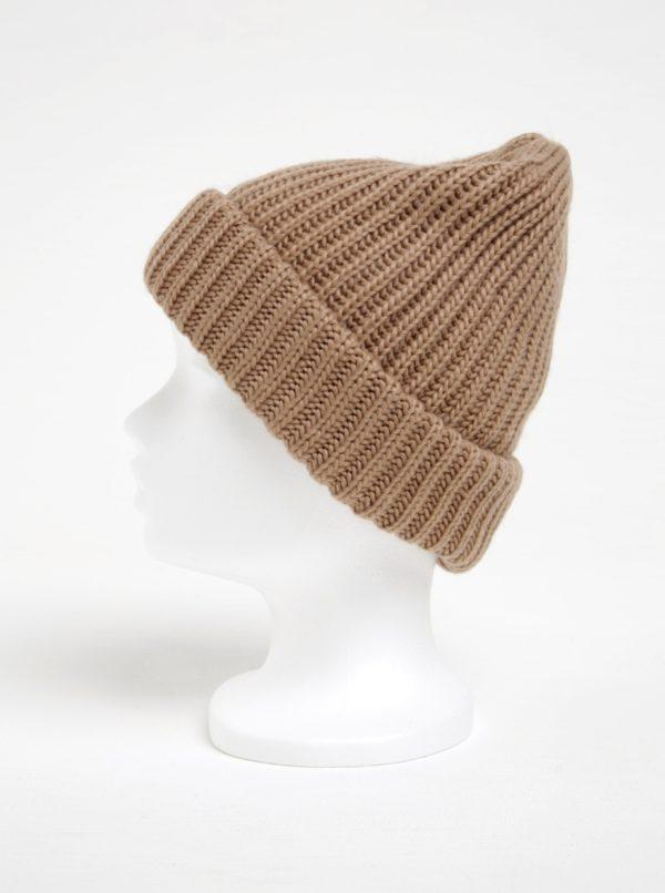 Hnedá pletená čiapka Pieces Poulula