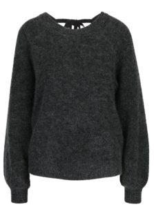 Tmavosivý melírovaný vlnený sveter s prímesou mohéru Selected Femme Kaila