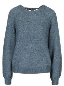 Modrý melírovaný vlnený sveter s prímesou mohéru Selected Femme Kaila