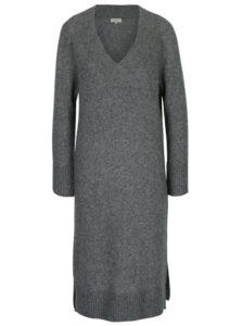 Sivé vlnené svetrové šat s prímesou jačej vlny Selected Femme Jamia