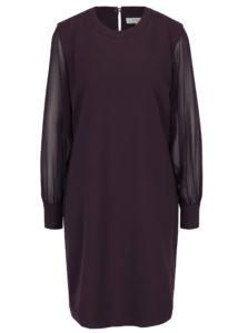 Fialové šaty s priesvitnými rukávmi Selected Femme Mayi