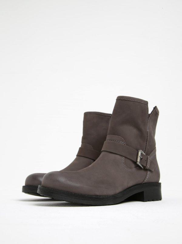 Sivé kožené členkové topánky s prackou Geox New virna