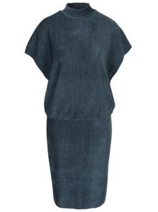 Modré rebrované zamatové šaty Selected Femme Velva