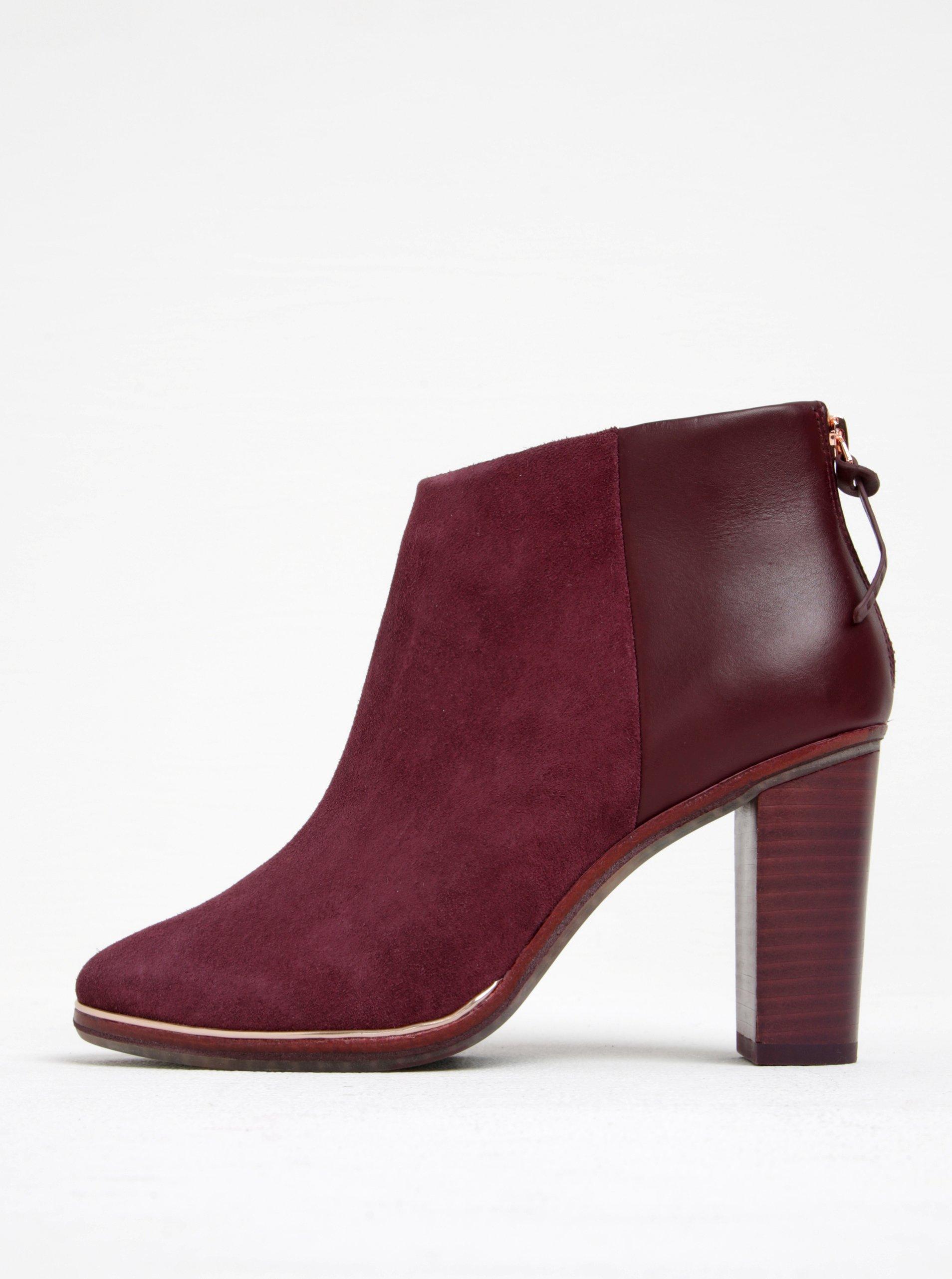 Vínové semišové členkové topánky na podpätku Ted Baker Azaila  016fa1c4793