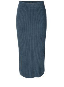 Modrá rebrovaná zamatová sukňa Selected Femme Velva
