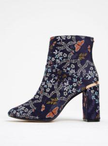 Modré kvetinové členkové topánky na podpätku Ted Baker Ishbel