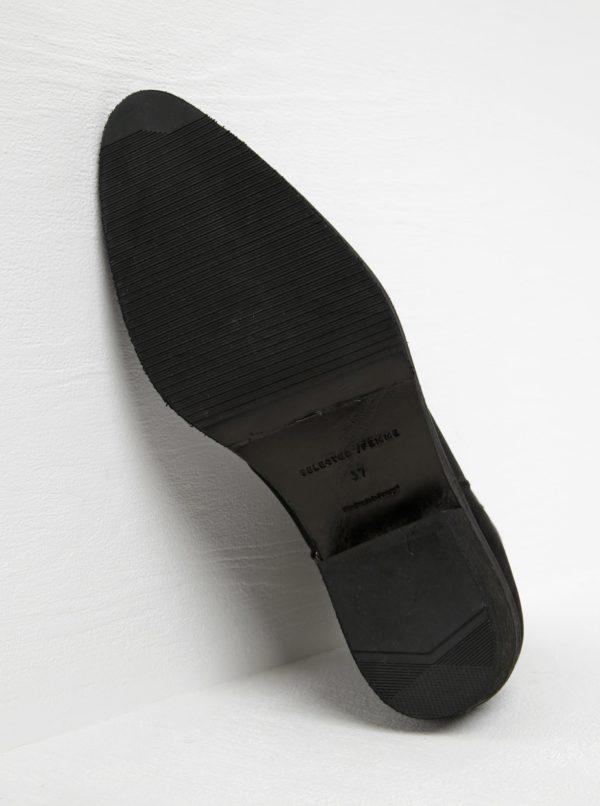 Čierne kožené členkové topánky s kovovou špičkou Selected Femme Boby