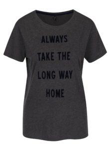 Tmavosivé melírované tričko s potlačou ONLY Sabina Always
