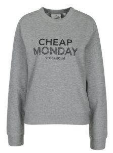 Sivá dámska melírovaná mikina s potlačou Cheap Monday