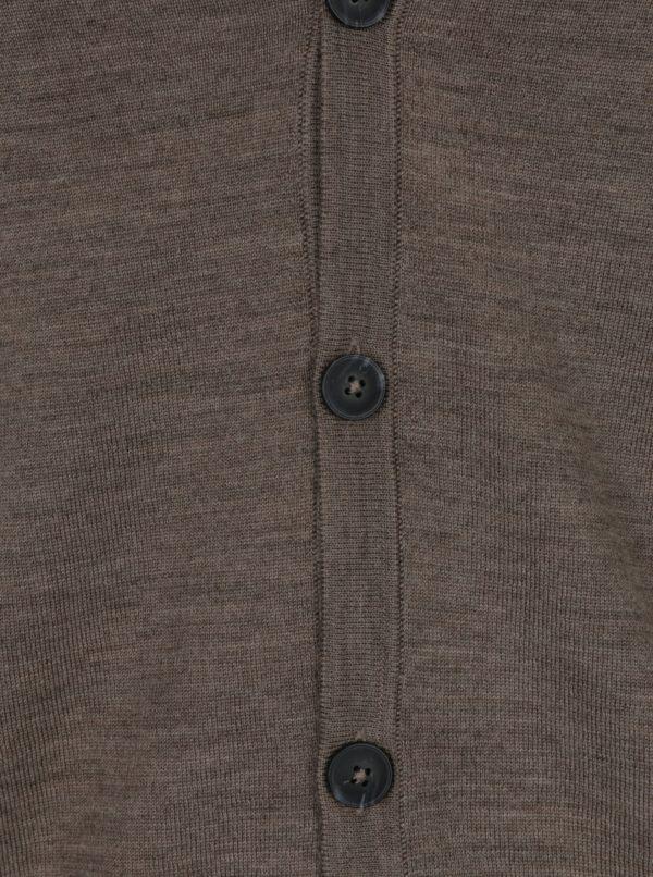 Svetlohnedý tenký melírovaný kardigán z merino vlny Jack & Jones Mark